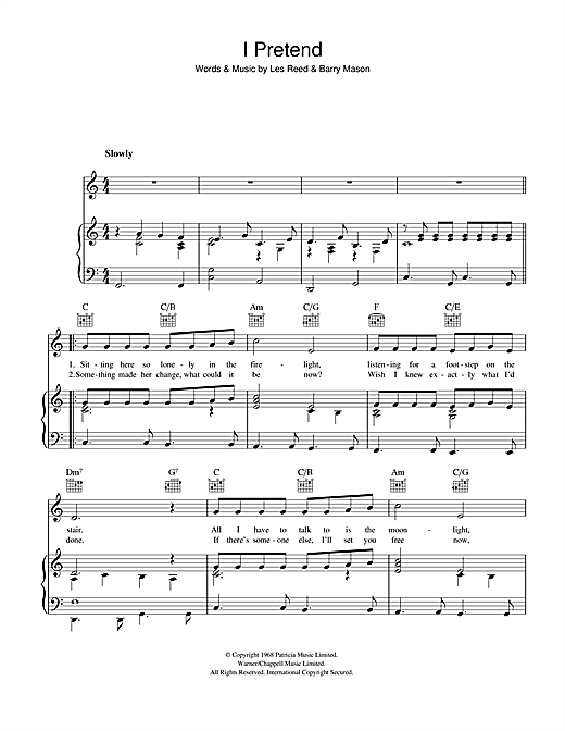 Les Reed I Pretend sheet music notes and chords