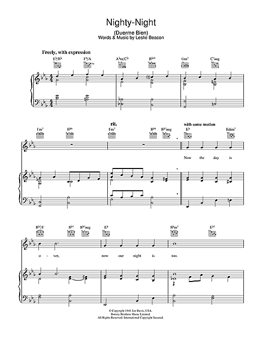 Leslie Beacon Nighty-Night (Duerme Bien) sheet music notes and chords. Download Printable PDF.