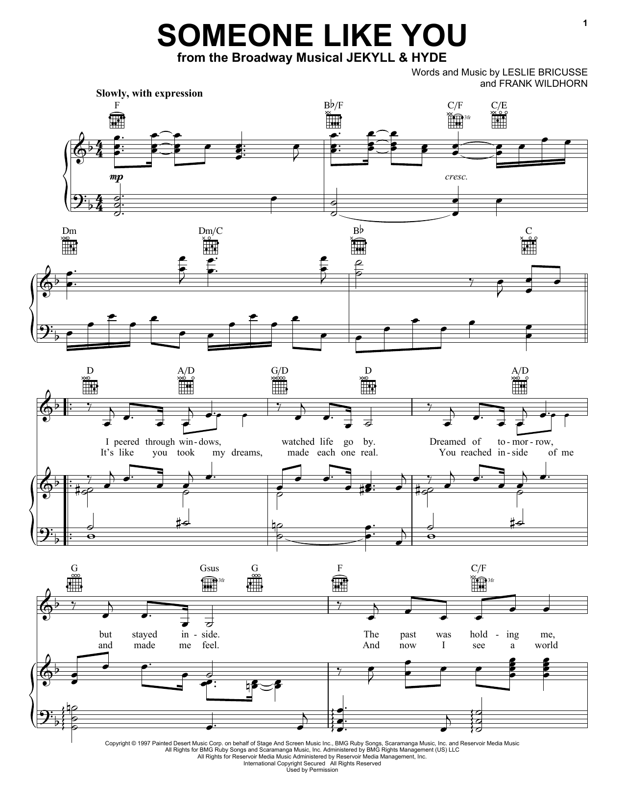 Leslie Bricusse Someone Like You sheet music notes and chords. Download Printable PDF.
