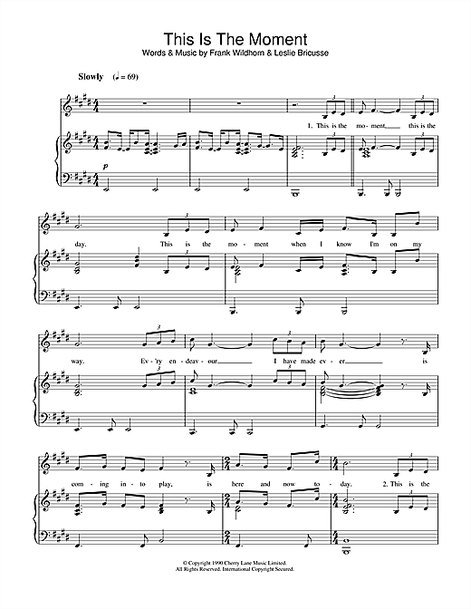 Leslie Bricusse This Is The Moment sheet music notes and chords. Download Printable PDF.