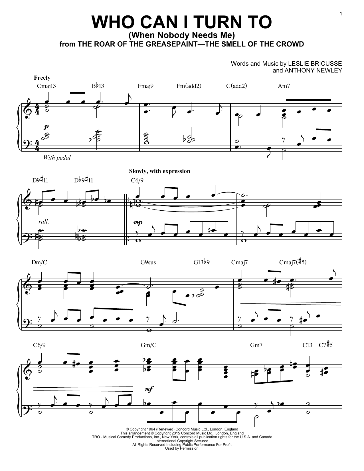 Leslie Bricusse Who Can I Turn To (When Nobody Needs Me) sheet music notes and chords. Download Printable PDF.