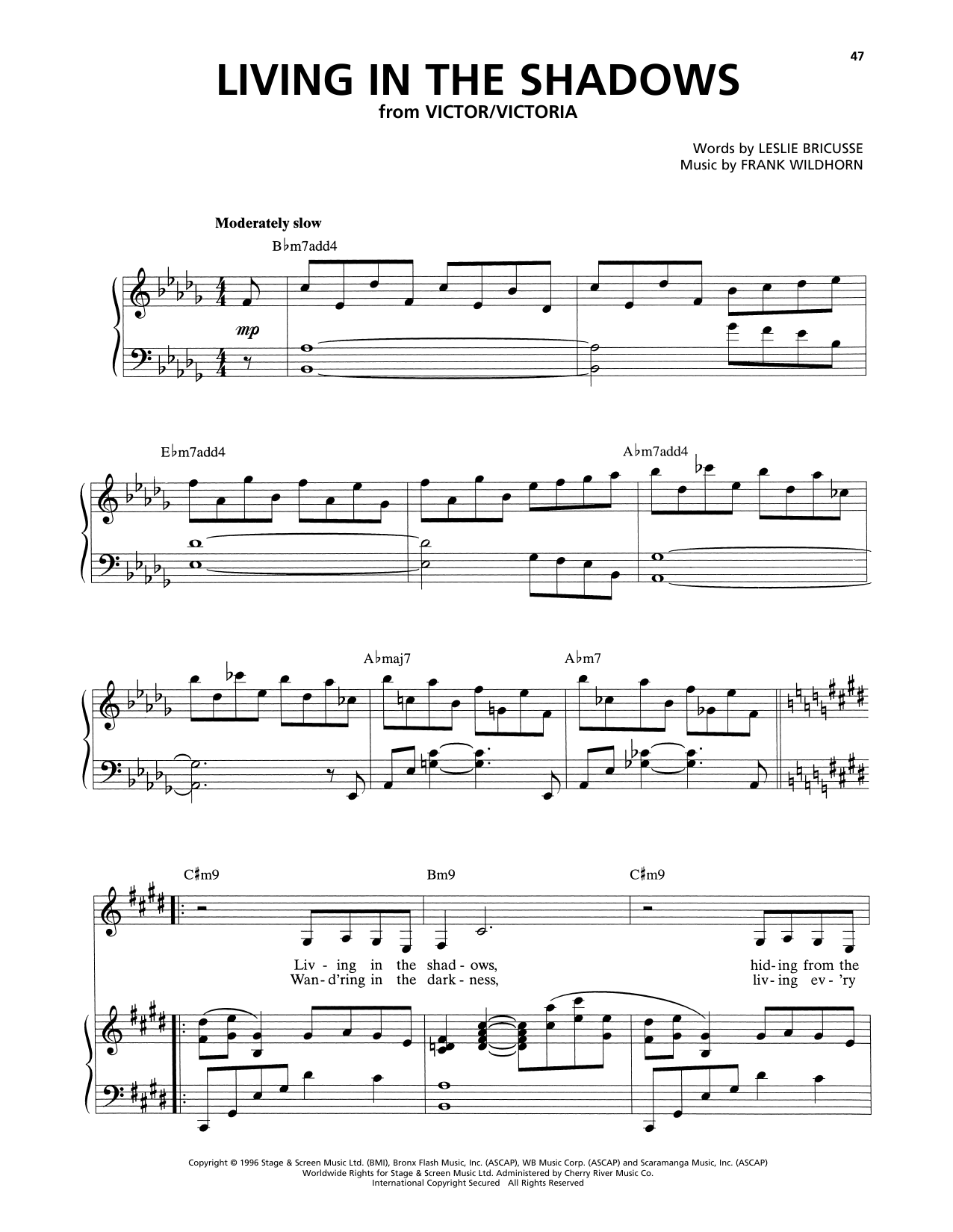 Leslie Bricusse and Frank Wildhorn Living In The Shadows (from Victor/Victoria) sheet music notes and chords. Download Printable PDF.