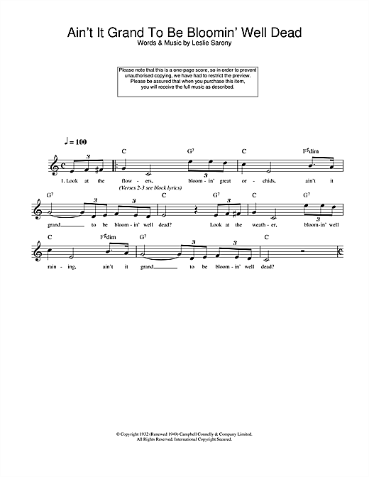Leslie Sarony Ain't It Grand To Be Bloomin' Well Dead sheet music notes and chords. Download Printable PDF.