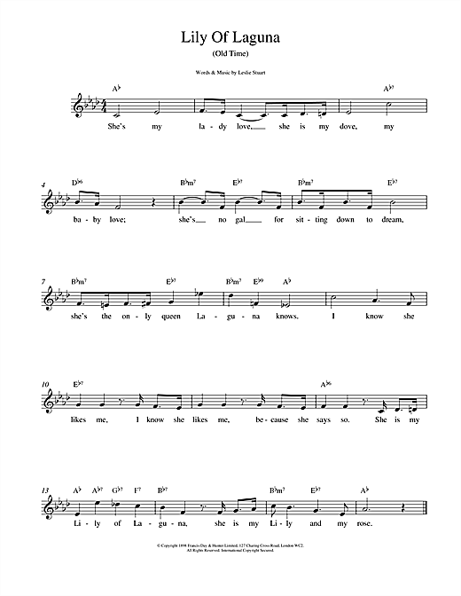 Leslie Stuart Lily Of Laguna sheet music notes and chords. Download Printable PDF.