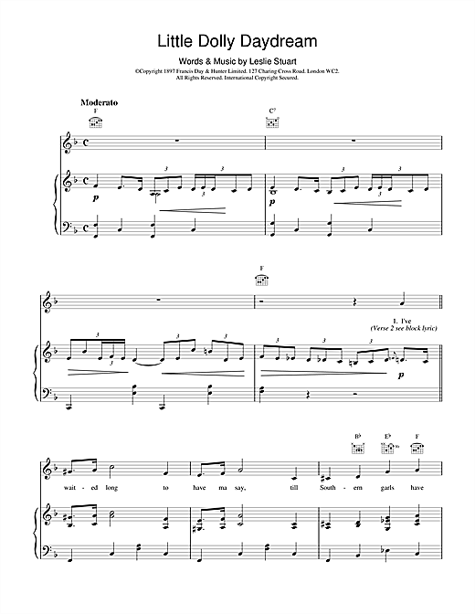 Leslie Stuart Little Dolly Daydream sheet music notes and chords