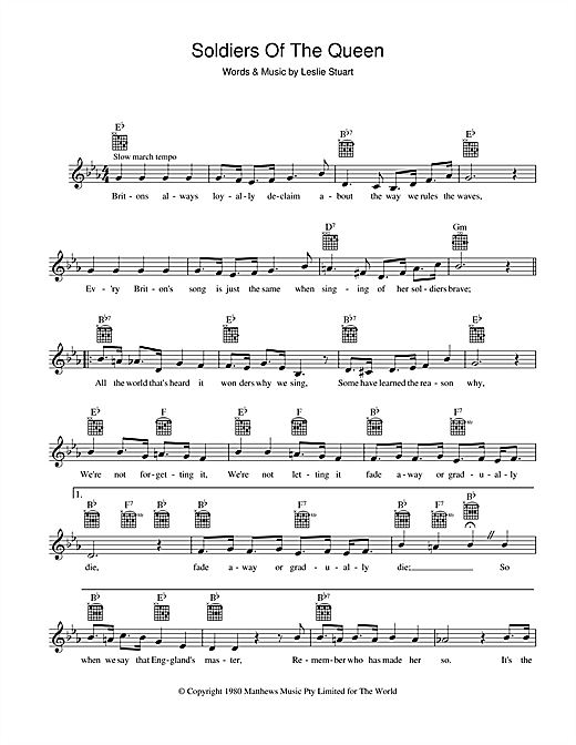 Leslie Stuart Soldiers Of The Queen sheet music notes and chords. Download Printable PDF.
