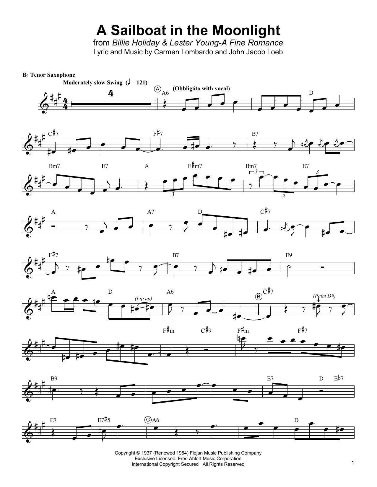 Lester Young A Sailboat In The Moonlight sheet music notes and chords. Download Printable PDF.