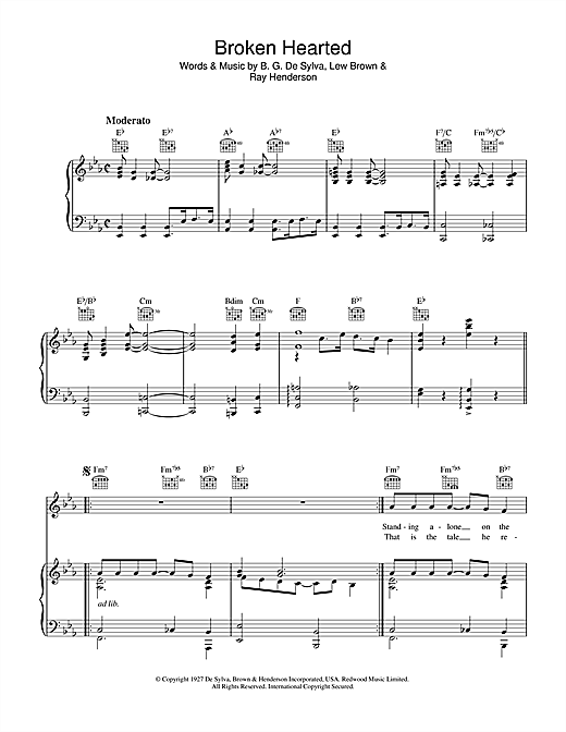 Lew Brown (Here Am I) Broken Hearted sheet music notes and chords. Download Printable PDF.