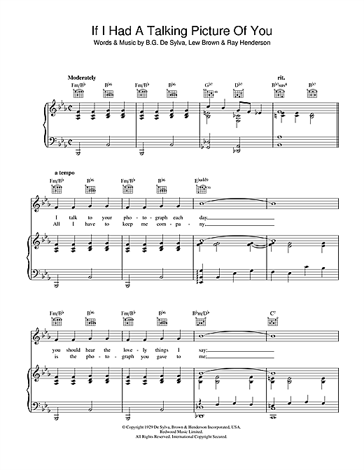 Lew Brown If I Had A Talking Picture Of You sheet music notes and chords