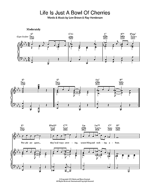 Lew Brown Life Is Just A Bowl Of Cherries sheet music notes and chords. Download Printable PDF.