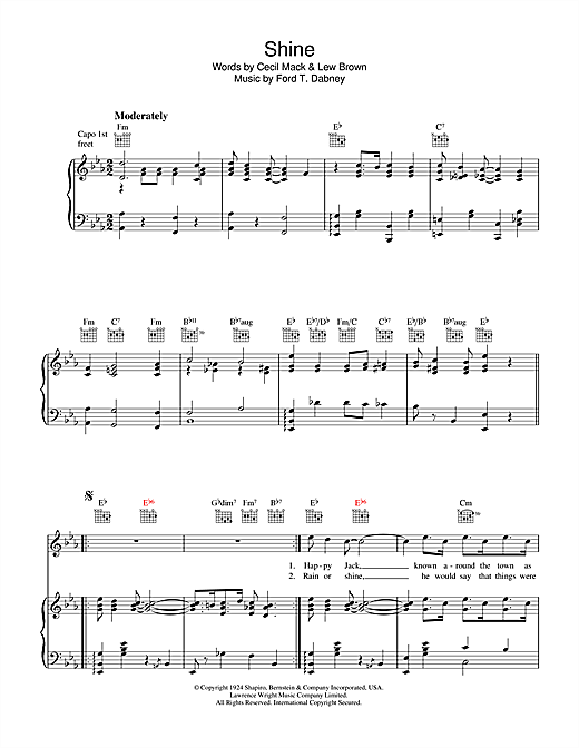 Lew Brown Shine sheet music notes and chords. Download Printable PDF.