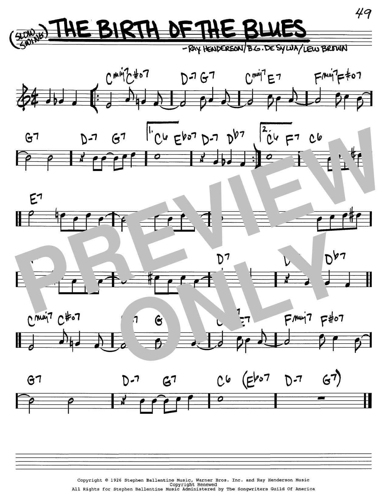 Lew Brown The Birth Of The Blues sheet music notes and chords. Download Printable PDF.