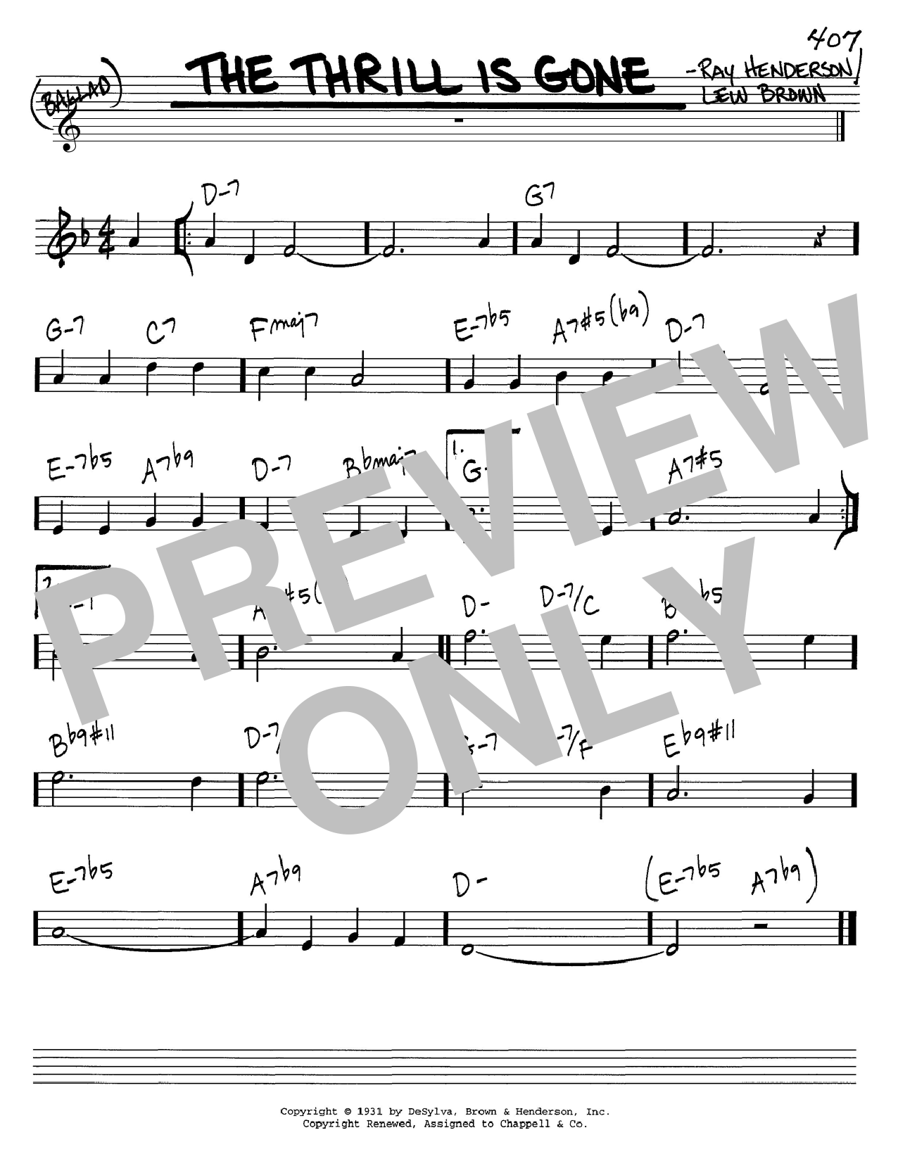 Lew Brown The Thrill Is Gone sheet music notes and chords. Download Printable PDF.