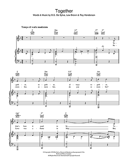 Lew Brown Together sheet music notes and chords. Download Printable PDF.