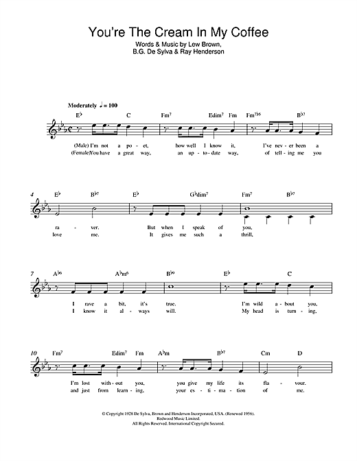 Lew Brown You're The Cream In My Coffee sheet music notes and chords. Download Printable PDF.