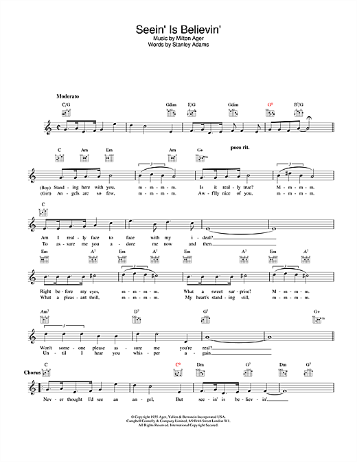 Lew Stone Seein' Is Believin' sheet music notes and chords. Download Printable PDF.