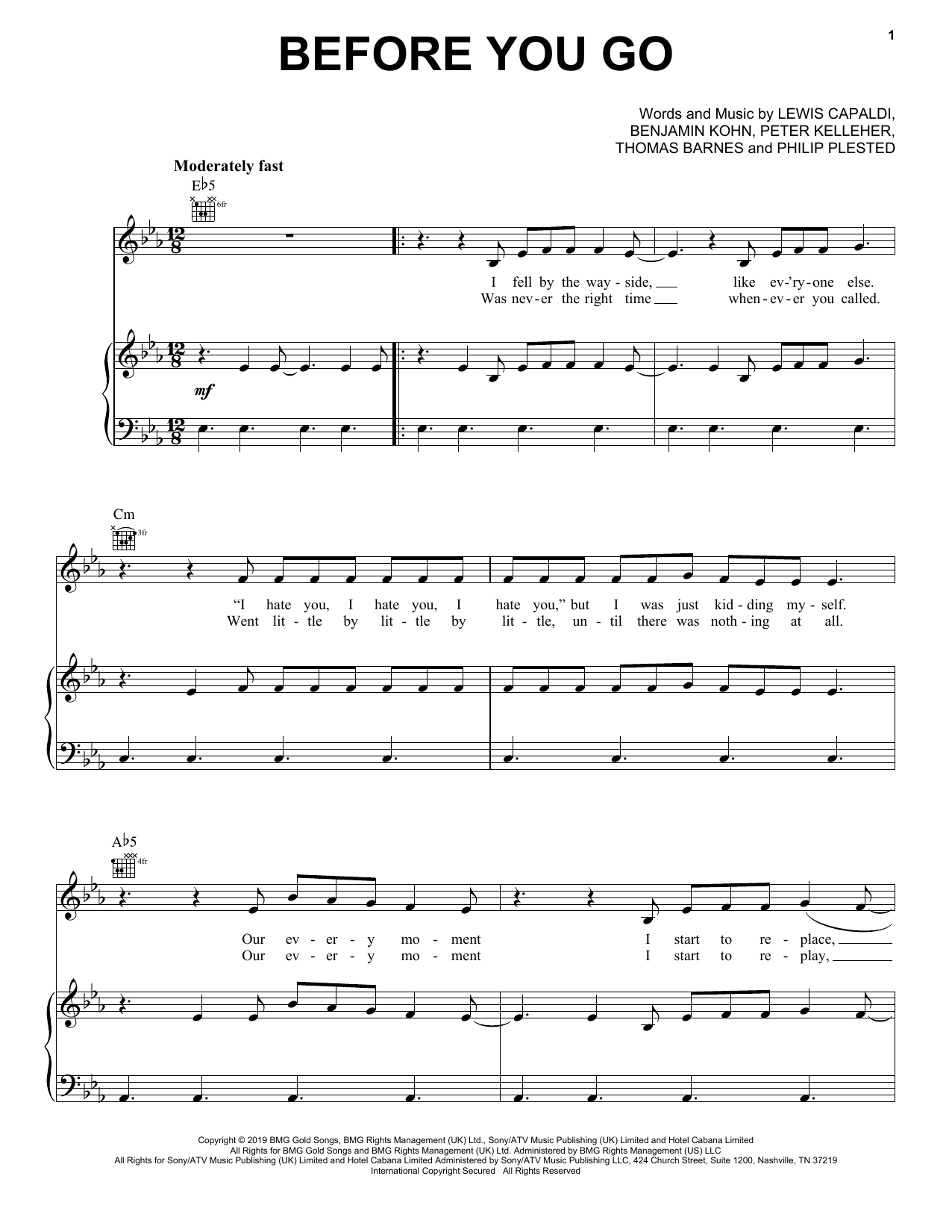 Lewis Capaldi Before You Go sheet music notes and chords. Download Printable PDF.