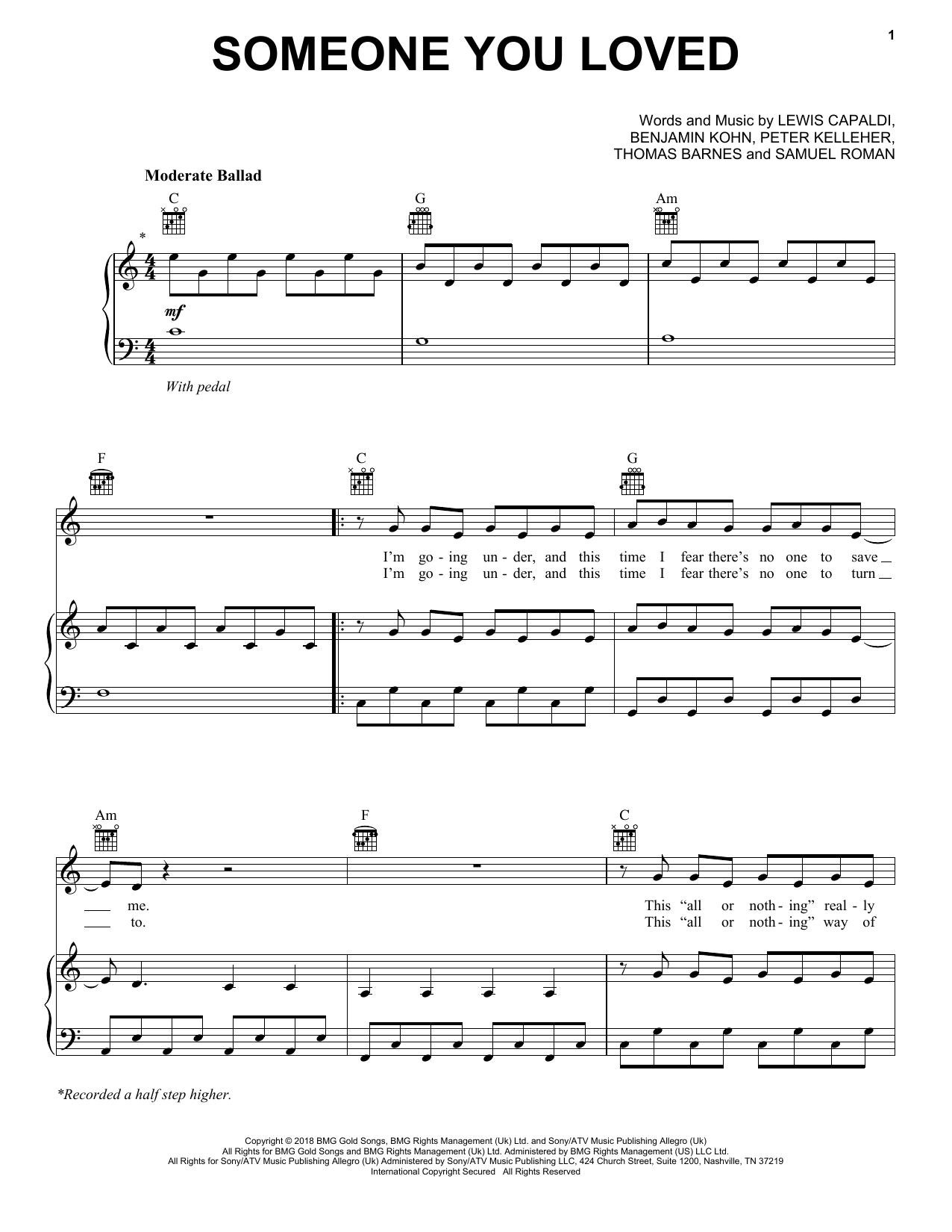 Lewis Capaldi Someone You Loved sheet music notes and chords
