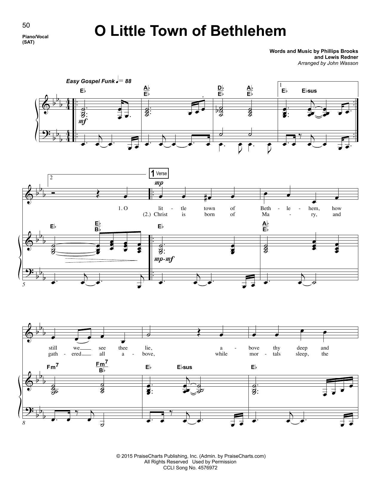 Lewis H. Redner O Little Town Of Bethlehem sheet music notes and chords