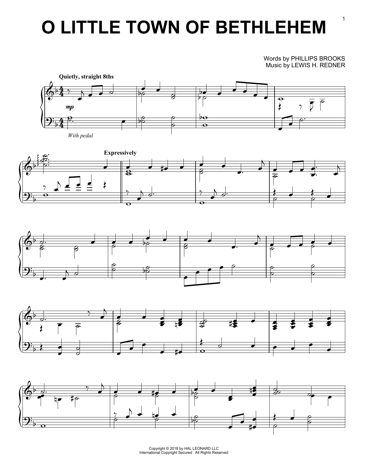 Lewis H. Redner O Little Town Of Bethlehem [Jazz version] sheet music notes and chords