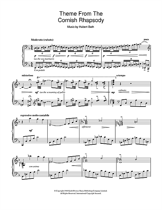 Liberace Cornish Rhapsody sheet music notes and chords. Download Printable PDF.