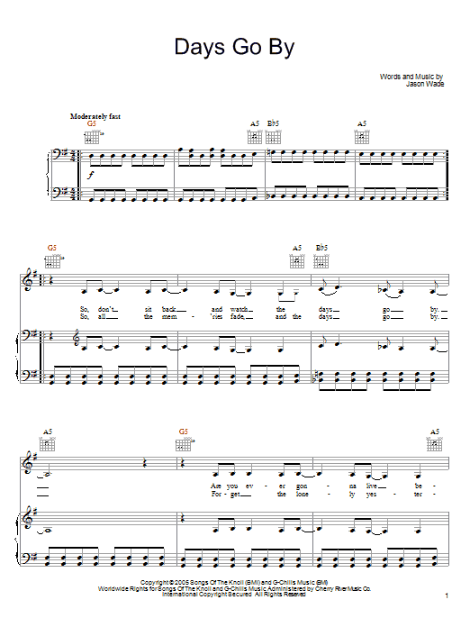Lifehouse Days Go By sheet music notes and chords. Download Printable PDF.