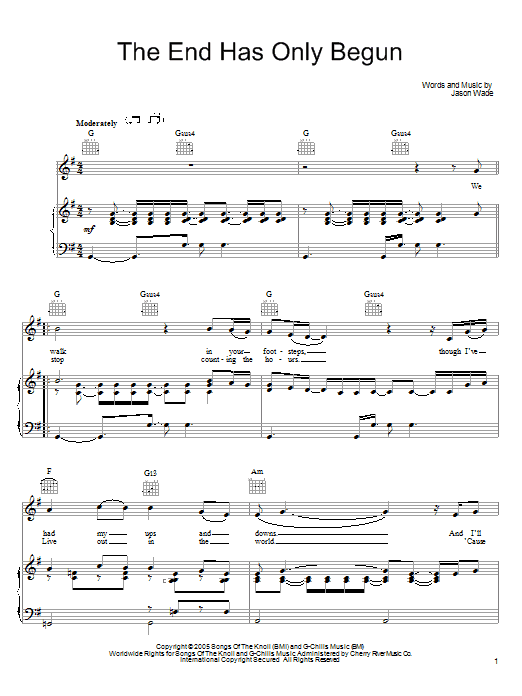 Lifehouse The End Has Only Begun sheet music notes and chords. Download Printable PDF.