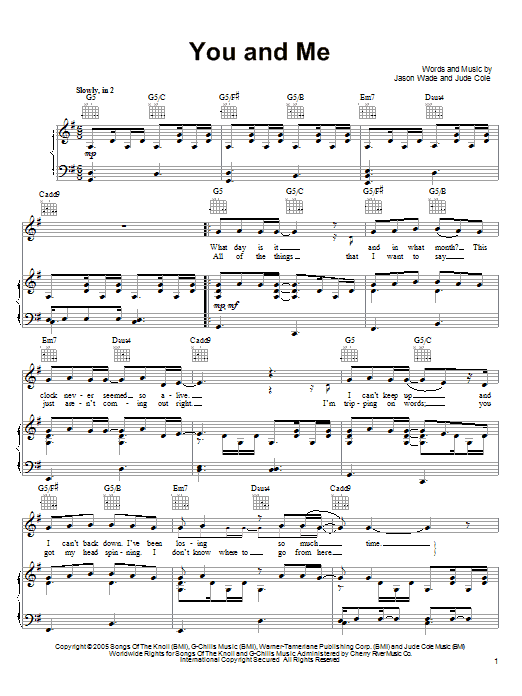 Lifehouse You And Me sheet music notes and chords. Download Printable PDF.