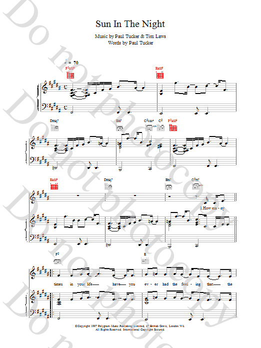 The Lighthouse Family Sun In The Night sheet music notes and chords. Download Printable PDF.