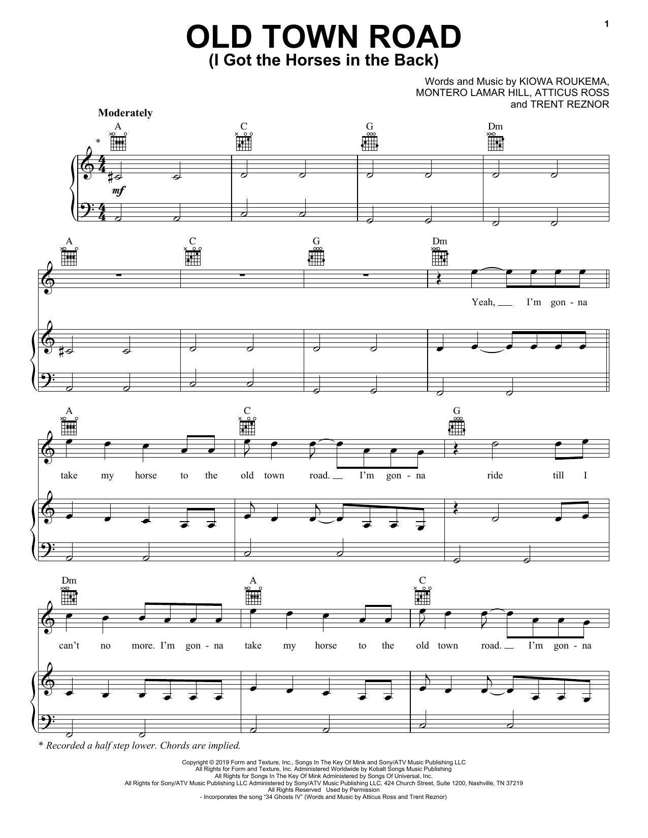 Lil Nas X Old Town Road (I Got The Horses In The Back) sheet music notes and chords