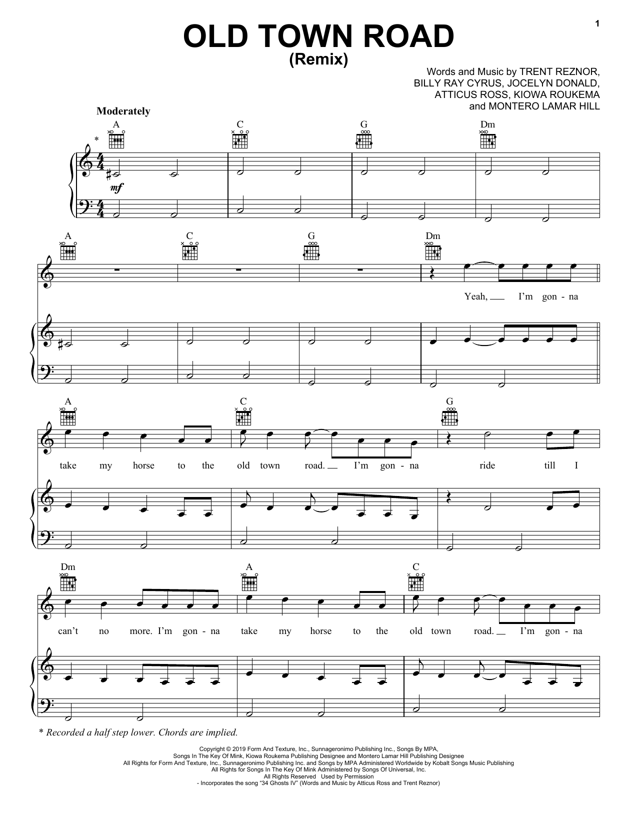 Lil Nas X feat. Billy Ray Cyrus Old Town Road (Remix) sheet music notes and chords