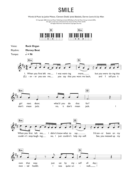 Lily Allen Smile sheet music notes and chords. Download Printable PDF.