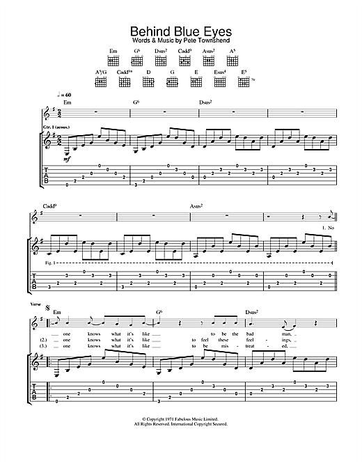 Limp Bizkit Behind Blue Eyes sheet music notes and chords. Download Printable PDF.