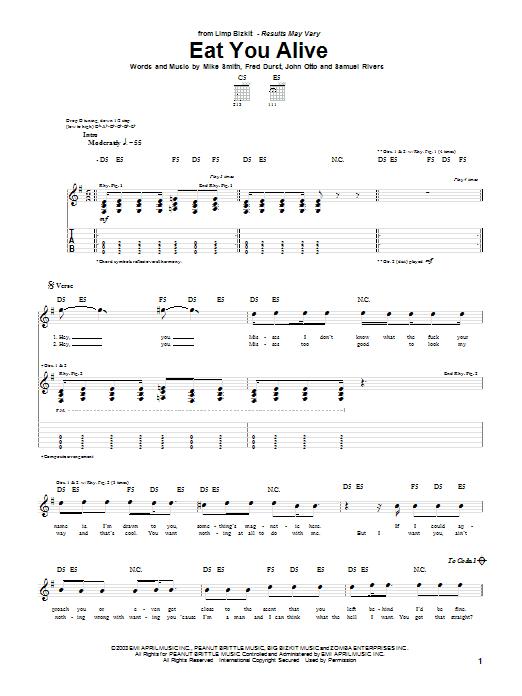 Limp Bizkit Eat You Alive sheet music notes and chords. Download Printable PDF.