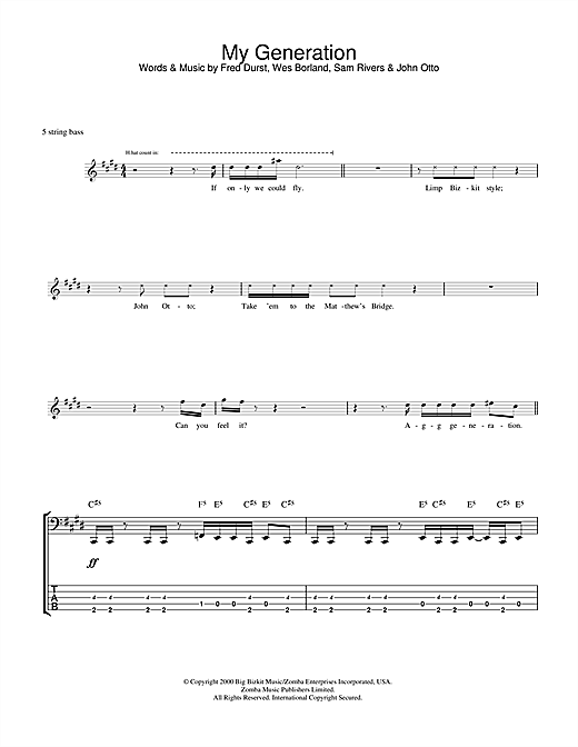 Limp Bizkit My Generation sheet music notes and chords. Download Printable PDF.