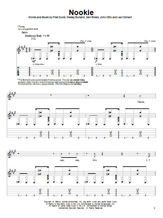 Limp Bizkit Nookie sheet music notes and chords. Download Printable PDF.