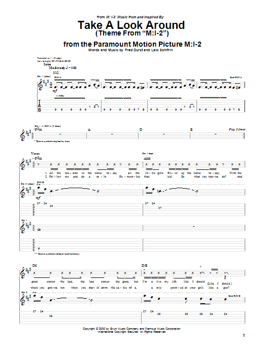 Limp Bizkit Take A Look Around (theme from Mission Impossible 2) sheet music notes and chords. Download Printable PDF.