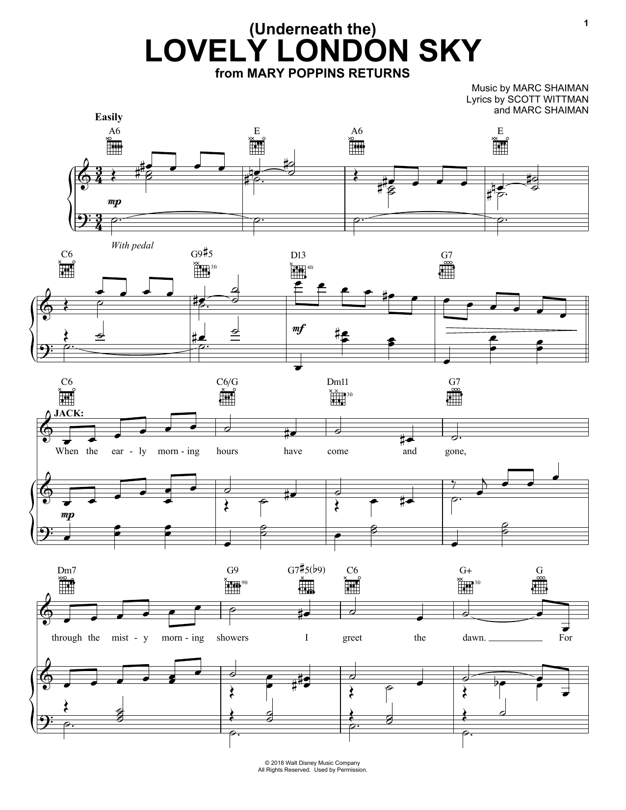 Lin-Manuel Miranda (Underneath The) Lovely London Sky (from Mary Poppins Returns) sheet music notes and chords. Download Printable PDF.