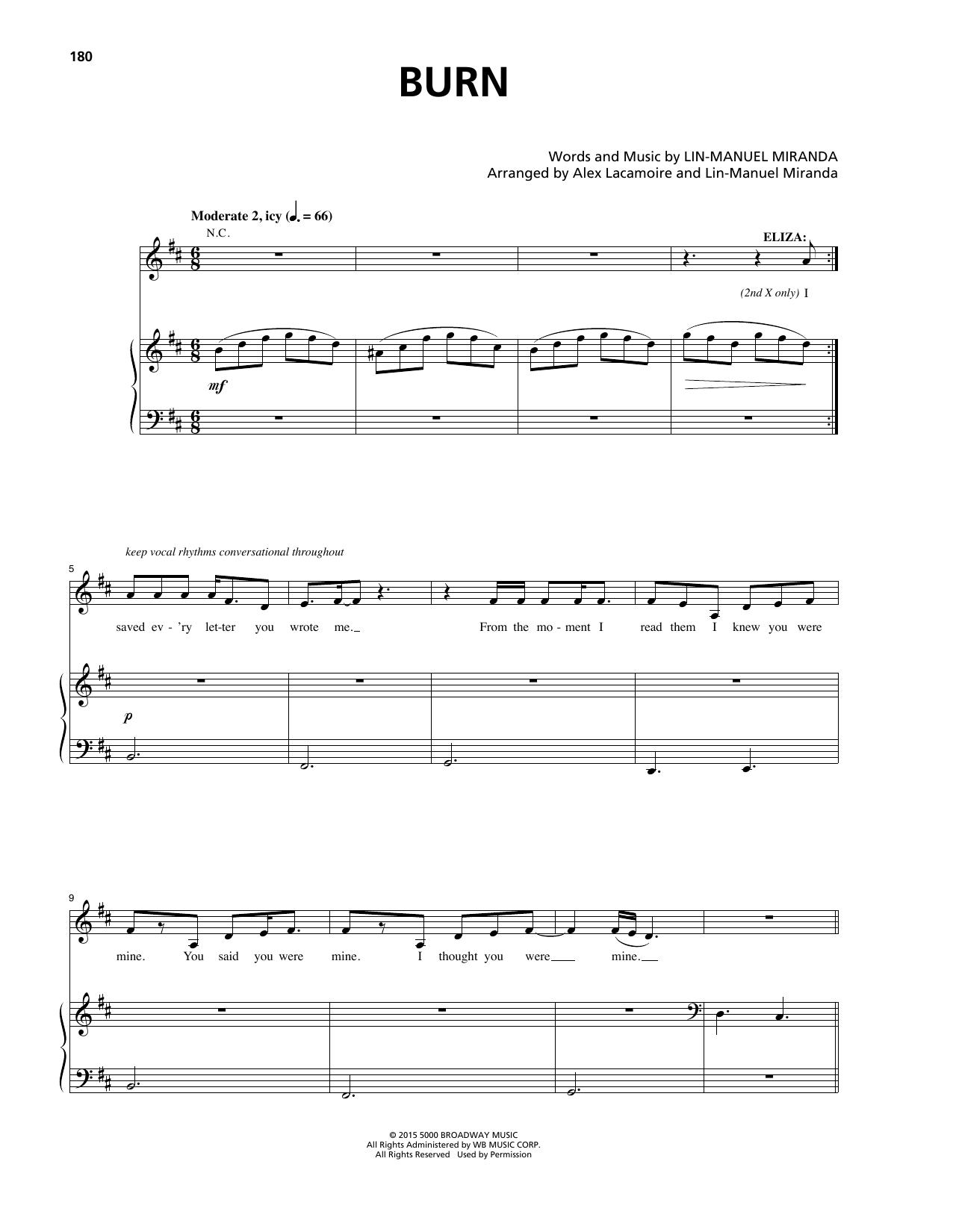 Lin-Manuel Miranda Burn (from Hamilton) sheet music notes and chords. Download Printable PDF.
