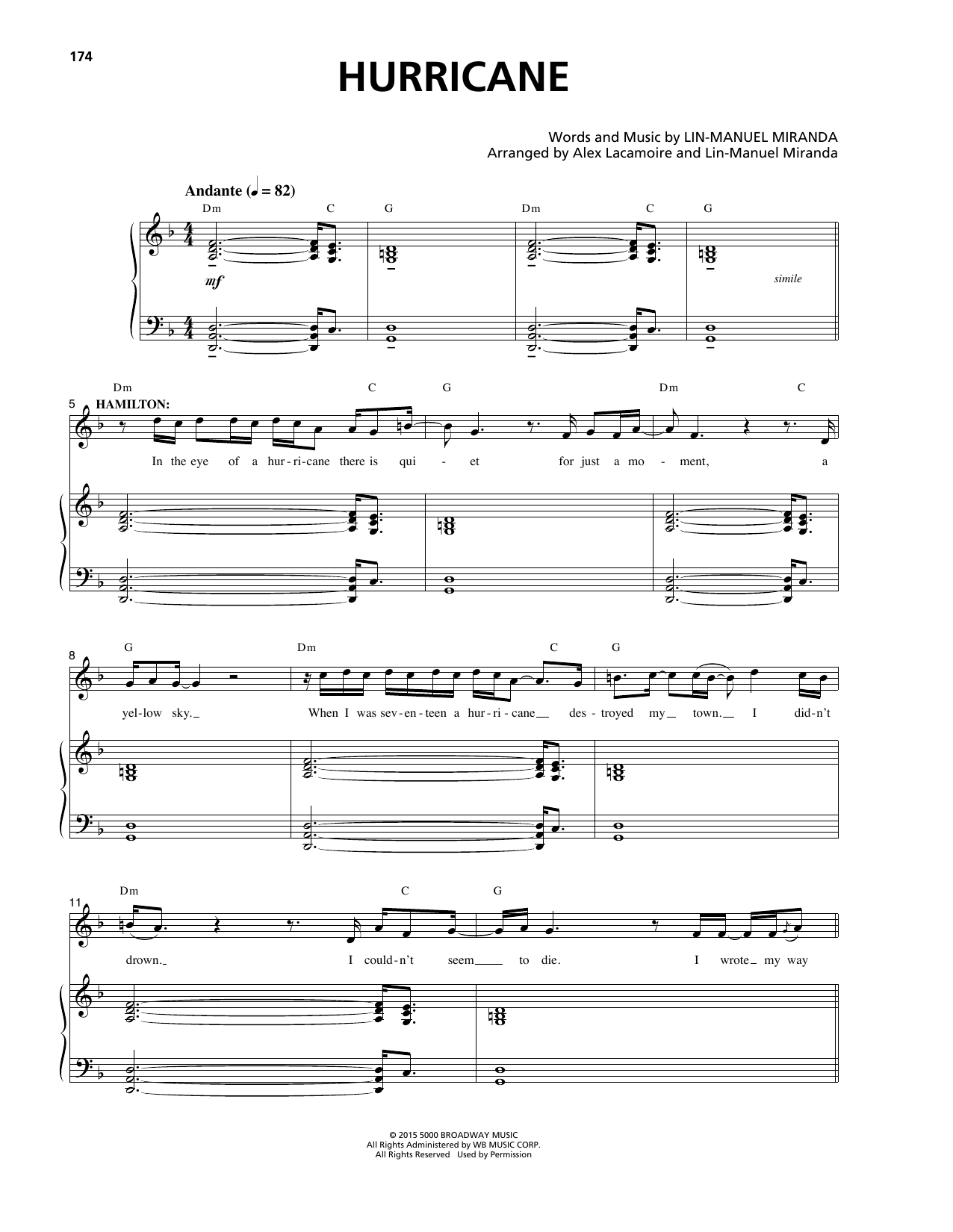 Lin-Manuel Miranda Hurricane (from Hamilton) sheet music notes and chords
