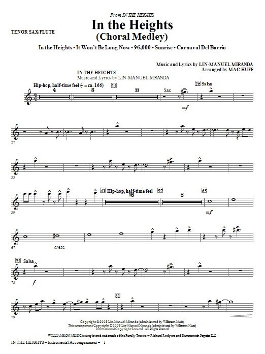 Lin-Manuel Miranda In The Heights (Choral Medley) - Tenor Sax/Flute sheet music notes and chords. Download Printable PDF.