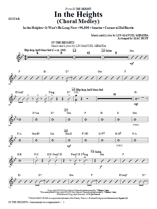 Lin-Manuel Miranda In The Heights (Choral Medley) (arr. Mac Huff) - Guitar sheet music notes and chords. Download Printable PDF.