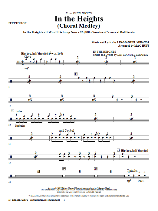 Lin-Manuel Miranda In The Heights (Choral Medley) (arr. Mac Huff) - Percussion sheet music notes and chords. Download Printable PDF.
