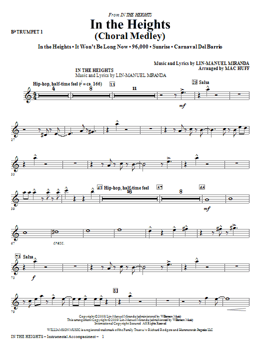 Lin-Manuel Miranda In The Heights (Choral Medley) (arr. Mac Huff) - Trumpet 1 sheet music notes and chords. Download Printable PDF.