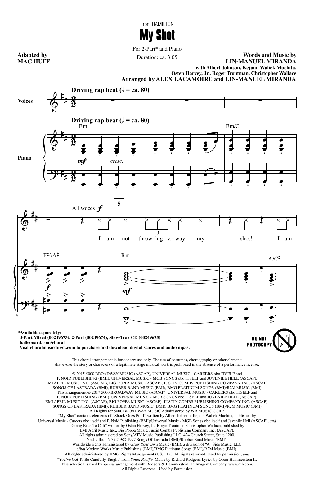 Lin-Manuel Miranda My Shot (from Hamilton) (arr. Mac Huff) sheet music notes and chords. Download Printable PDF.