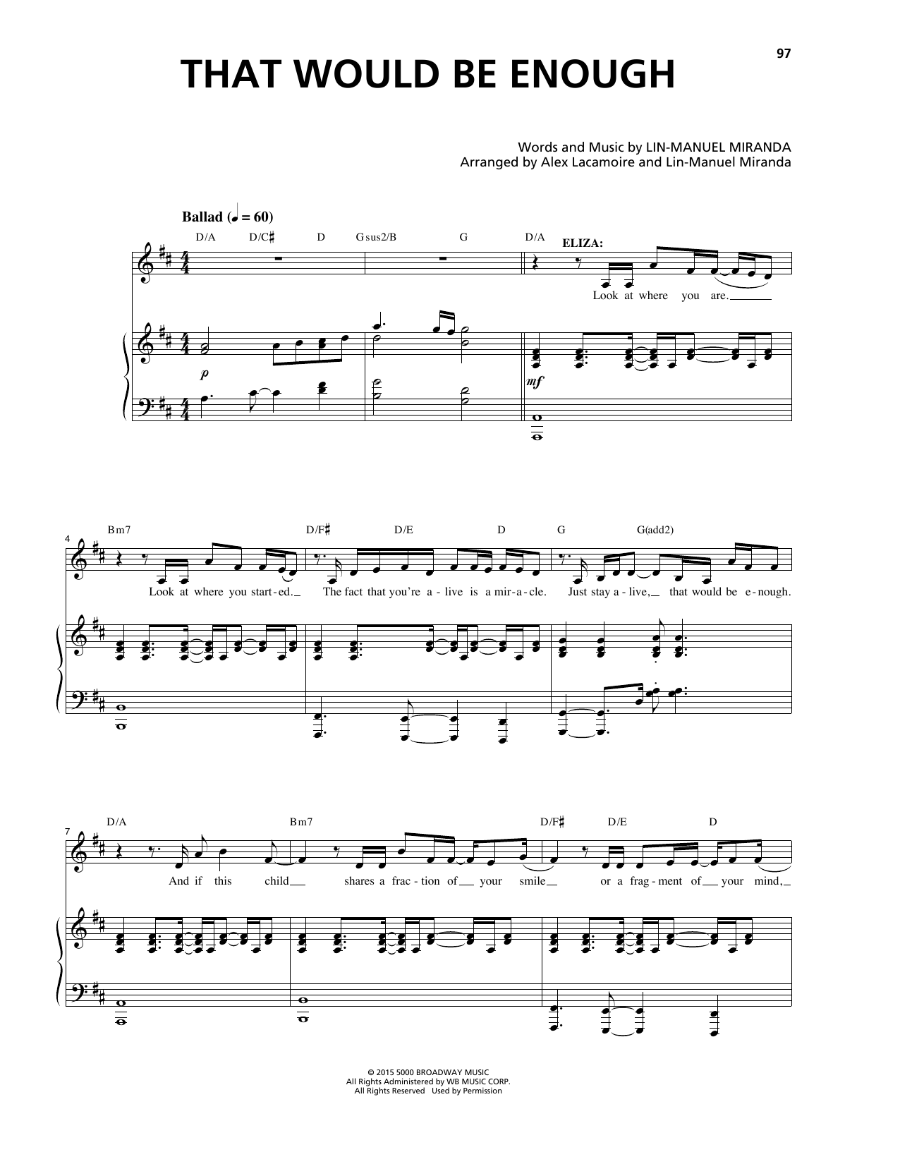 Lin-Manuel Miranda That Would Be Enough (from Hamilton) sheet music notes and chords. Download Printable PDF.