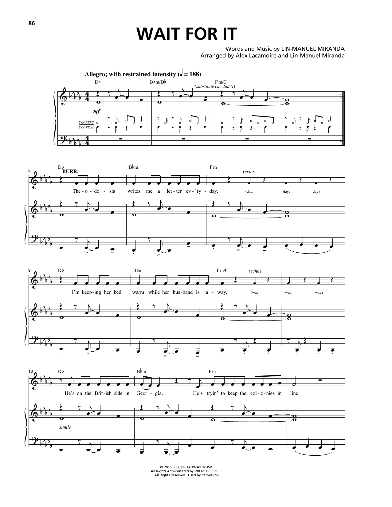 Lin-Manuel Miranda Wait For It (from Hamilton) sheet music notes and chords