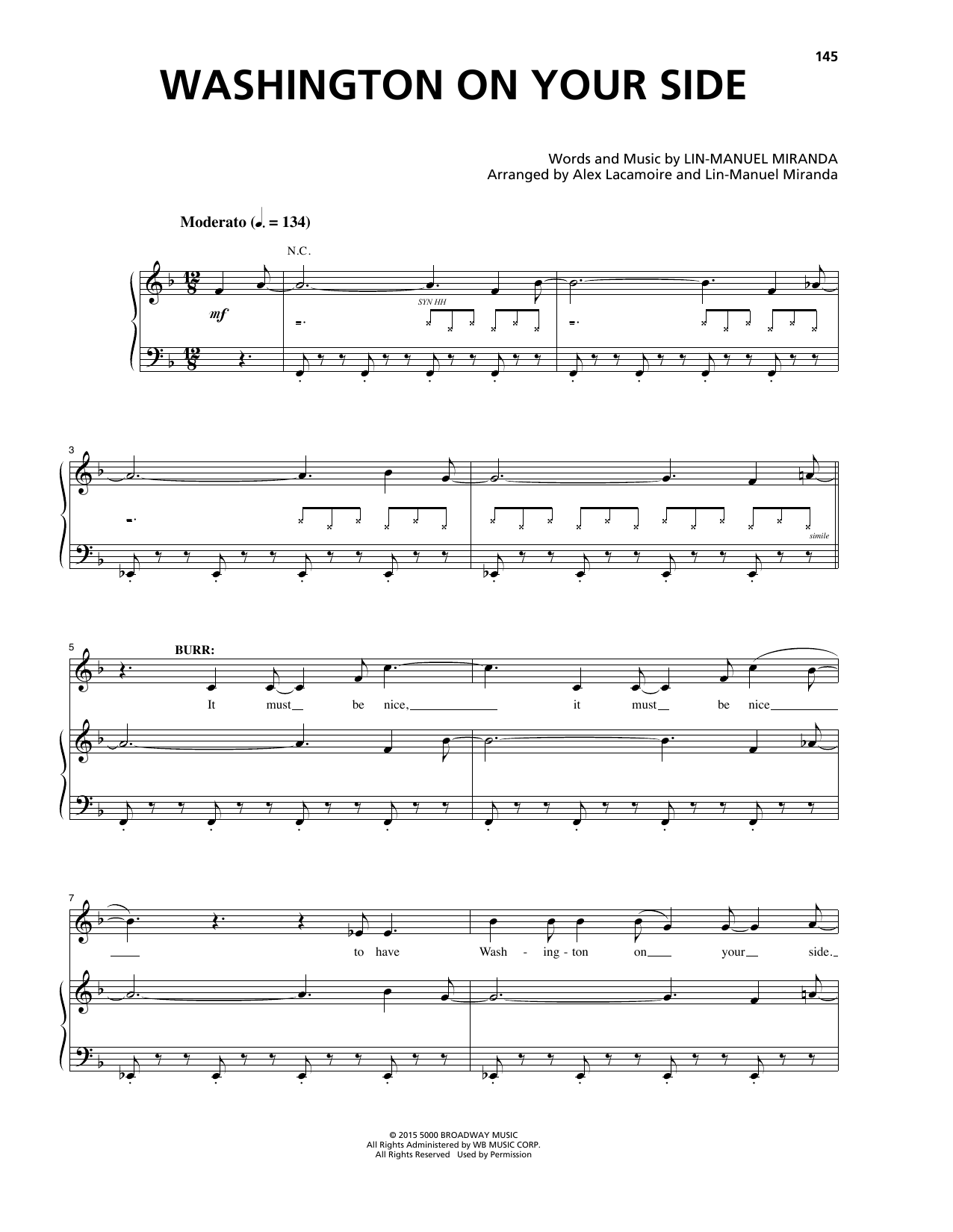 Lin-Manuel Miranda Washington On Your Side (from Hamilton) sheet music notes and chords. Download Printable PDF.