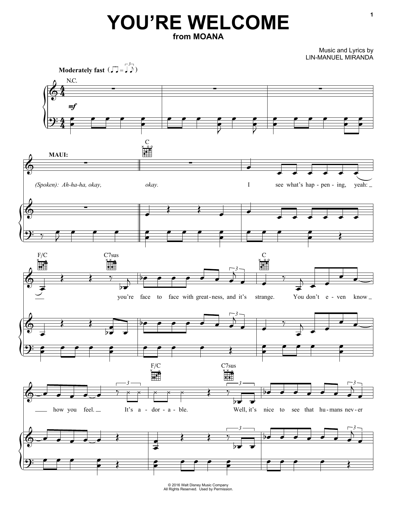 Lin-Manuel Miranda You're Welcome (from Moana) sheet music notes and chords. Download Printable PDF.