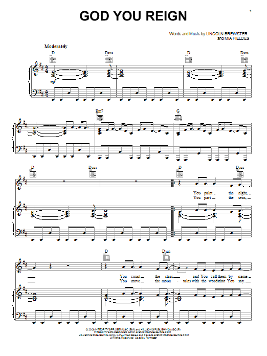 Lincoln Brewster God You Reign sheet music notes and chords. Download Printable PDF.